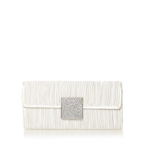 Debut - Ivory diamante square ruched clutch bag