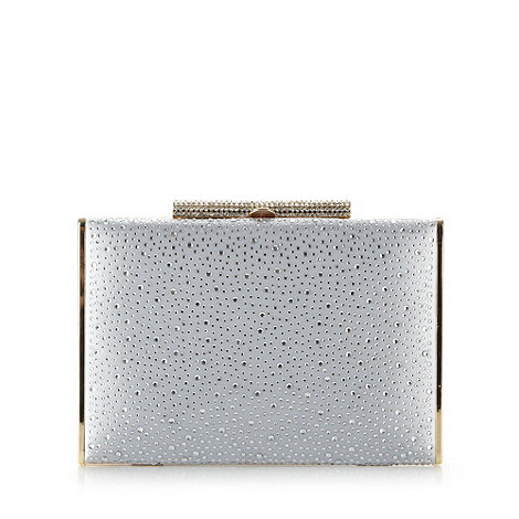 Debut - Silver diamante embellished clutch bag