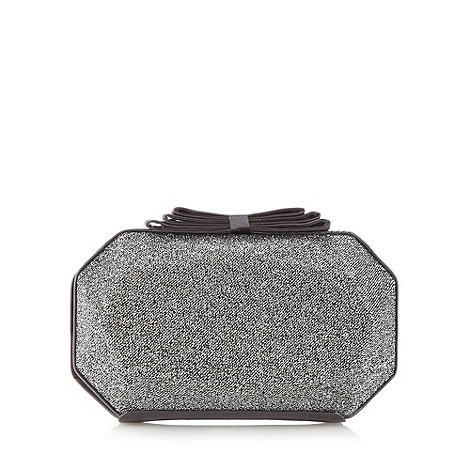Debut - Dark grey metallic bow trimmed clutch bag