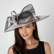 Grey two tone bow occasion hat