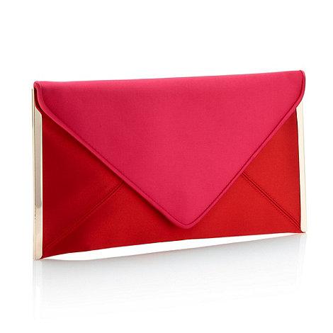J by Jasper Conran - Designer red satin metal sided clutch bag