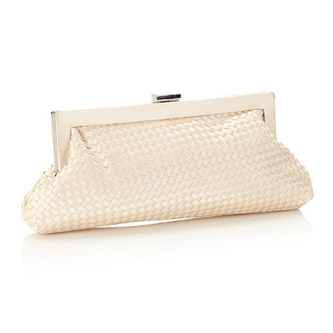 J by Jasper Conran - Designer peach woven satin clutch bag