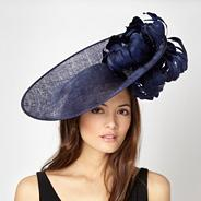 Designer navy feather flower saucer hair piece