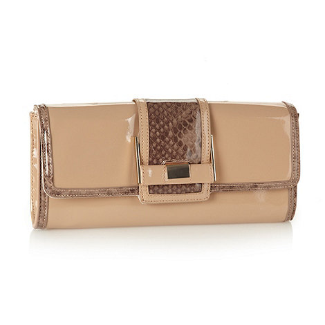 J by Jasper Conran - Designer beige snake patterned buckle clutch bag