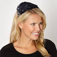 Designer navy embellished feather headband