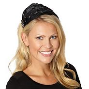 Designer black embellished feather headband