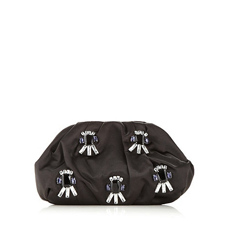 J by Jasper Conran - Designer black embellished satin clutch
