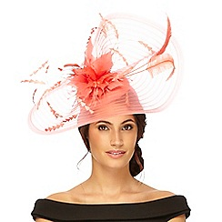 Principles by Ben de Lisi - Coral swirl feather headband fascinator