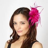 Designer bright pink feather corsage fascinator