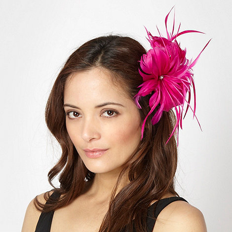 Star by Julien Macdonald - Designer bright pink feather corsage fascinator