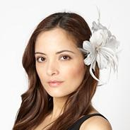 Designer silver feather corsage fascinator