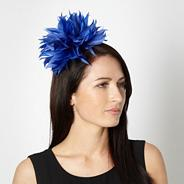 Designer mid blue wavy feathered head band