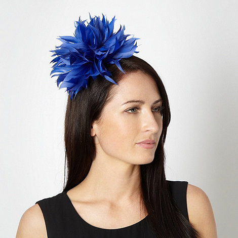 Star by Julien Macdonald - Designer mid blue wavy feathered head band