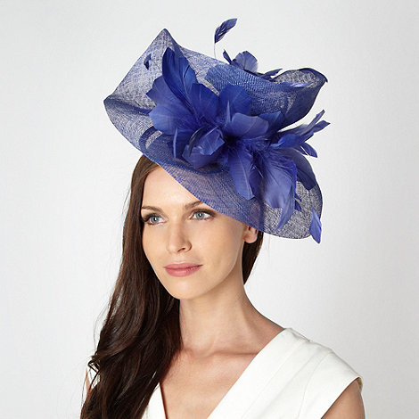 Star by Julien Macdonald - Designer blue twist feather head piece