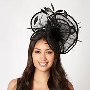 Designer black pleated ruffle fascinator