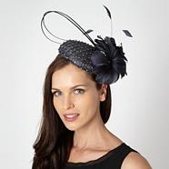 Designer dark grey diamante quill beret fascinator