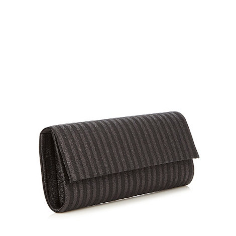 Star by Julien Macdonald - Designer black shimmering striped clutch bag