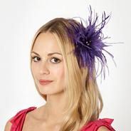 Designer purple feather flower fascinator
