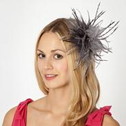 Designer silver feather flower fascinator