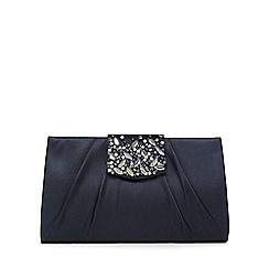 No. 1 Jenny Packham - Navy satin embellished clutch bag