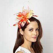 Designer pale yellow feather quill headband
