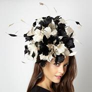Designer black floral burst head piece