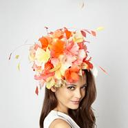 Designer orange floral burst head piece