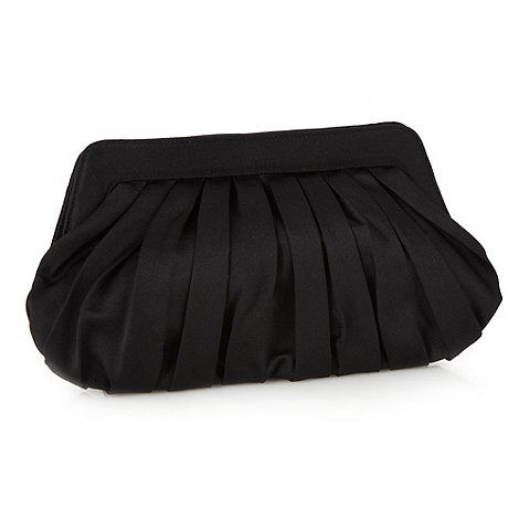 Principles by Ben de Lisi - Designer black satin pleated clutch bag