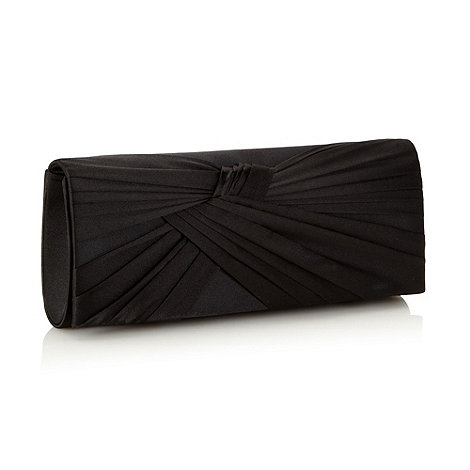 Principles by Ben de Lisi - Designer black pleated flap clutch bag