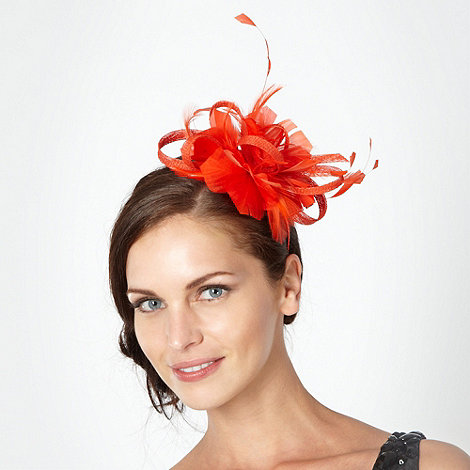 Principles by Ben de Lisi - Designer orange floral feather headband