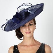 Designer navy feathered flower occasion hat