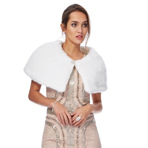 No. 1 Jenny Packham White faux fur jewel embellished cape