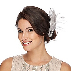 No. 1 Jenny Packham - Grey small feather clip fascinator