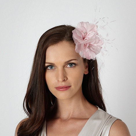 Debut - Pale pink feather corsage fascinator