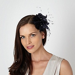 Debut - Navy feather corsage fascinator