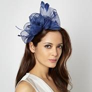Blue rosebud bow headband