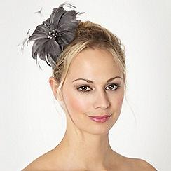 Debut - Dark grey feather flower clip