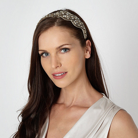 No. 1 Jenny Packham - Designer taupe embellished twist headband