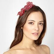 Designer red beaded petal head band