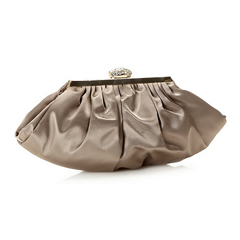 No. 1 Jenny Packham - Designer taupe diamante frame clutch bag