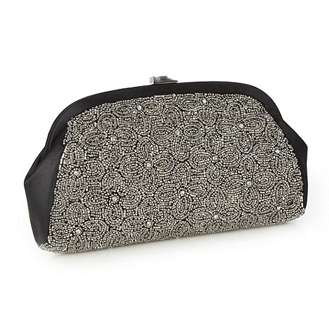 No. 1 Jenny Packham - Designer black metallic beaded clutch bag