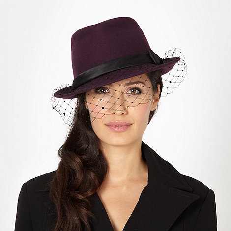 Top Hat by Stephen Jones - Designer dark purple diamante veil hat