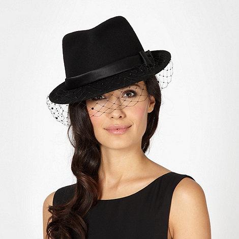 Top Hat by Stephen Jones - Designer black diamante veil hat