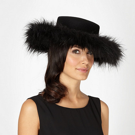 Top Hat by Stephen Jones - Designer black faux fur wool blend hat