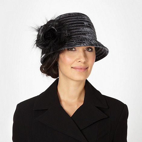 Top Hat by Stephen Jones - Designer dark grey velvet rose cloche hat