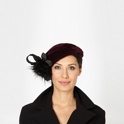 Top Hat by Stephen Jones - Designer dark purple rose beret hat