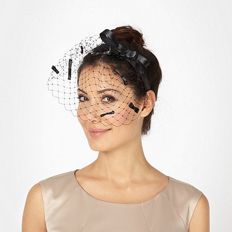Top Hat by Stephen Jones - Designer black bow veil headband