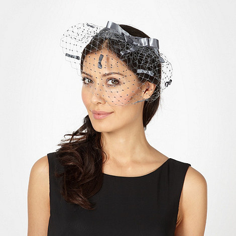 Top Hat by Stephen Jones - Designer grey bow veil headband