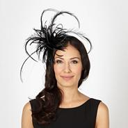 Designer black tubular feather head band