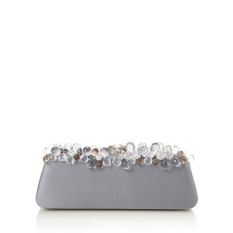 Top Hat by Stephen Jones - Designer grey embellished silk clutch bag